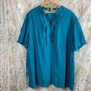 Apt 9 Turquoise Teal Dressy blouse ruffle neck 3x